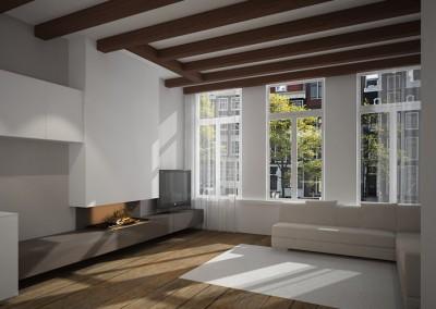 Living met houten vloer